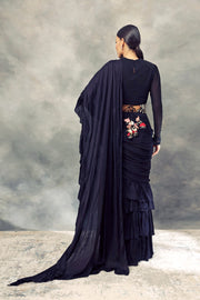 Black Ruffle Saree With Draped Blouse & Handcrafted Pearl Embroidered Belt - BHUMIKA SHARMA