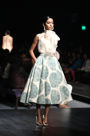 A Sheer Bow-Neck Top With A Printed Skirt - BHUMIKA SHARMA