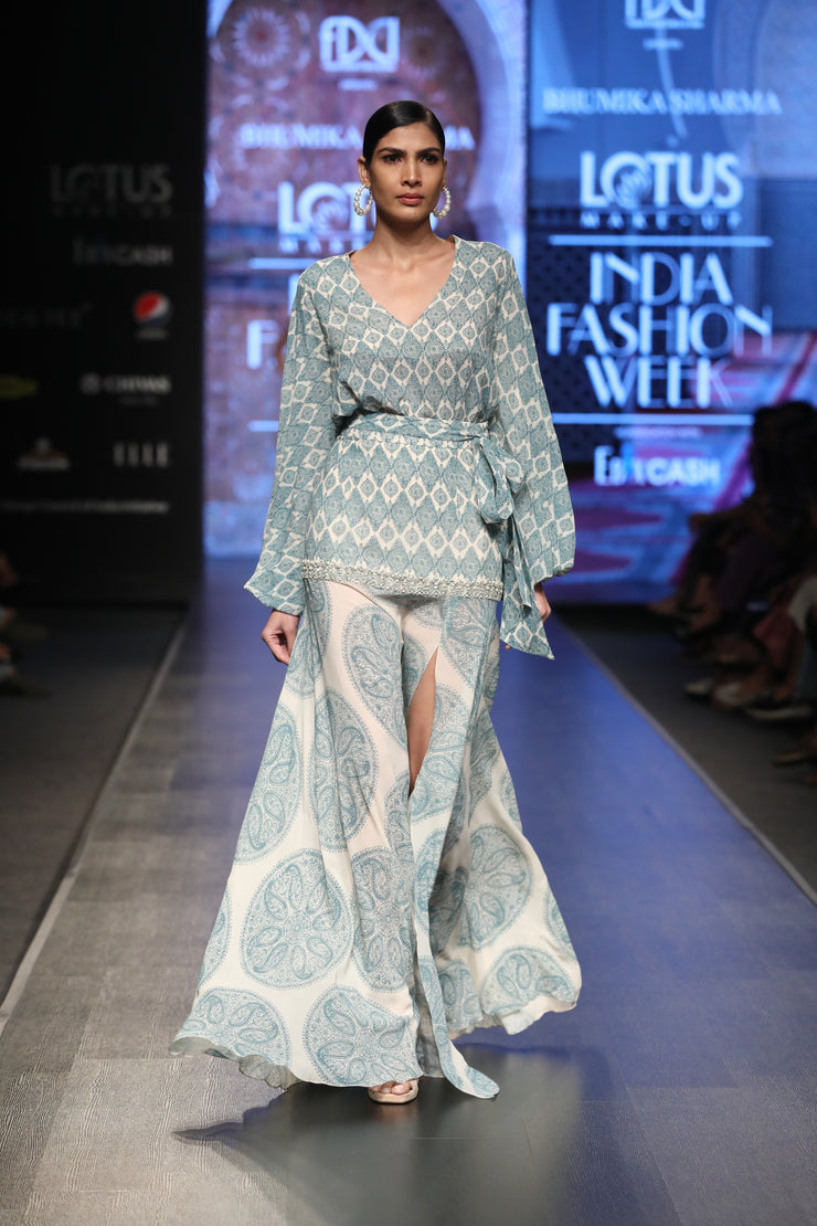A Printed Balloon Sleeved Top With A Dual Print High-Slit Embellished Skirt - BHUMIKA SHARMA