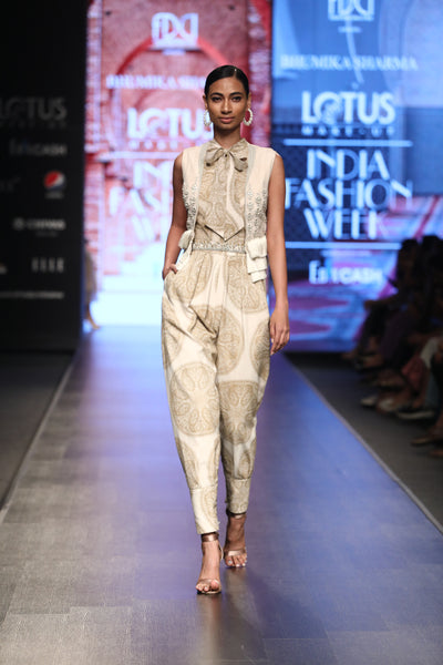 A Printed Jumpsuit With A Front Bow & Embellished Fringe Short Jacket - BHUMIKA SHARMA