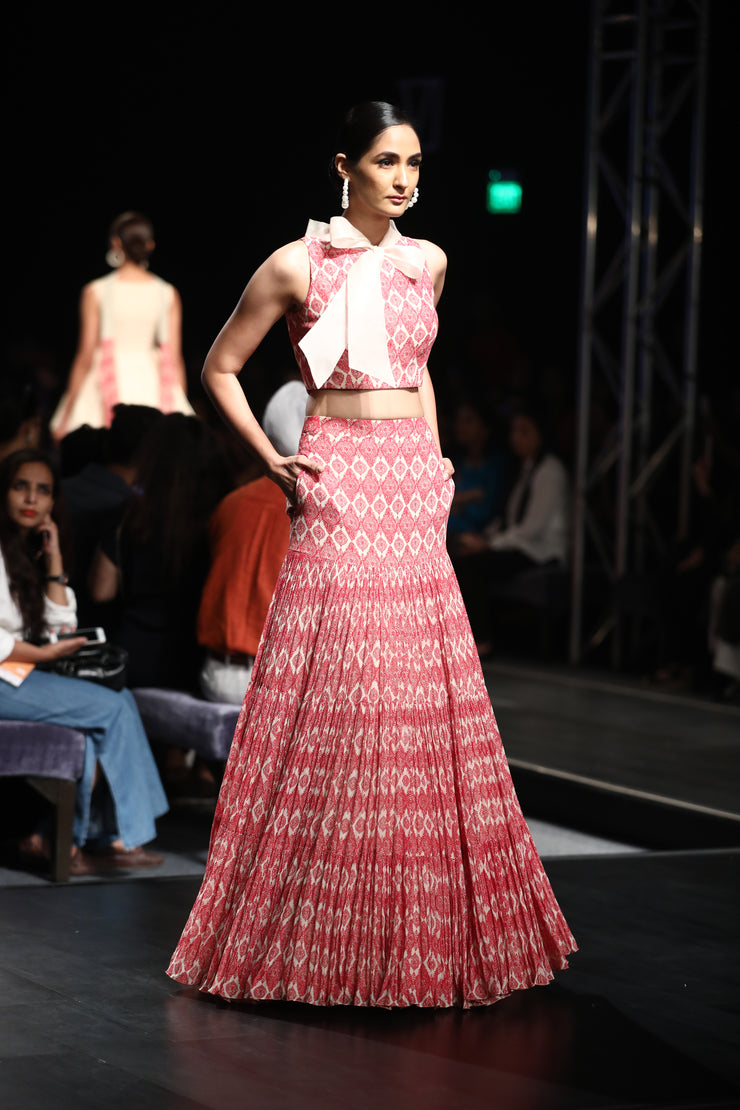 A Printed Crop Top With An Organza Bow Neck & A Printed Pleated Skirt - BHUMIKA SHARMA