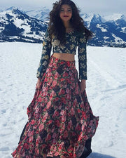 Floral Print Skirt with Blouse