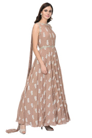 Beige Printed Embellished Anarkali with Attached Dupatta