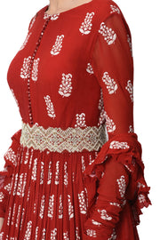 Red Printed Anarkali Set with Embroidered Belt