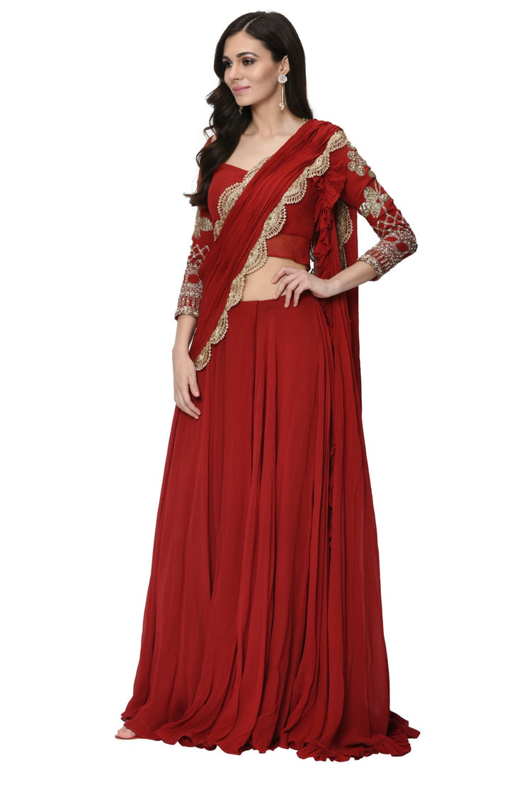 Red Embellished Double Drape Frill Saree Set