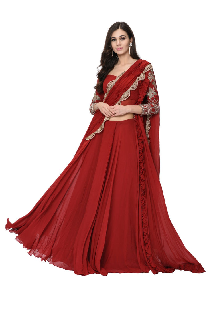 Red Embellished Double Drape Frill Saree Set Bhumika Sharma