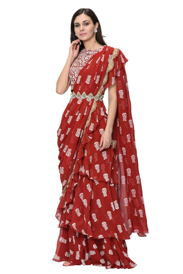 Red Printed Layered Saree Set with Embroidered Belt