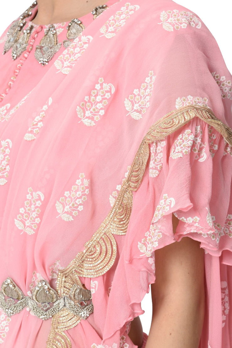 Pink Printed Ruffle Saree Set with Embroidered Belt