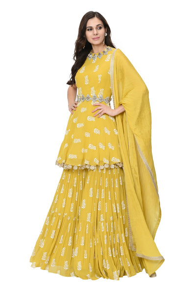 Yellow Printed Embellished Peplum Kurta and Garara Set - BHUMIKA SHARMA