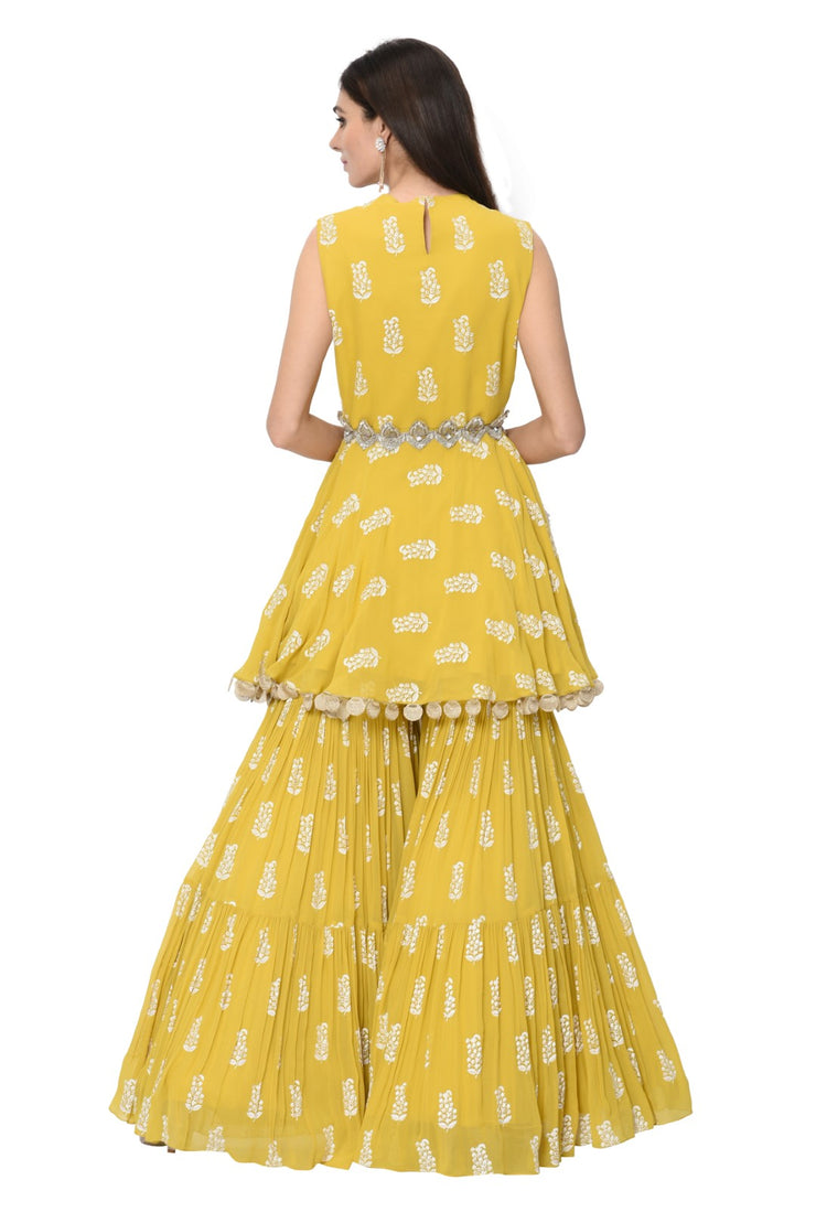 Yellow Printed Embellished Peplum Kurta and Garara Set