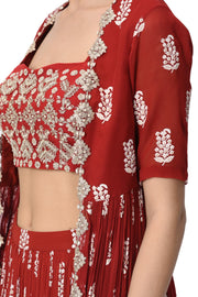 Red Printed Embroidered Cape with Bustier and Skirt - BHUMIKA SHARMA