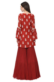 Red Printed Embroidered Kurta and Garara Set