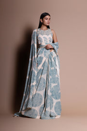 A Printed Fringe Saree With An Embellished Blouse & Belt - BHUMIKA SHARMA
