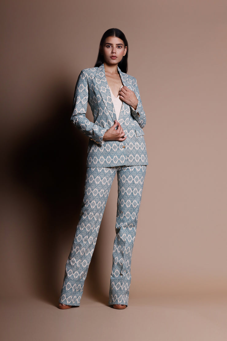 A Printed Jacket & Trouser Set With A Georgette Camisole - BHUMIKA SHARMA