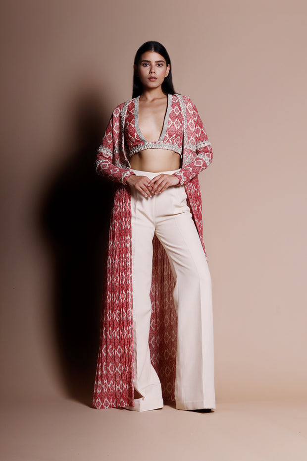 A Printed Embellished Blouse & Cape With Trousers