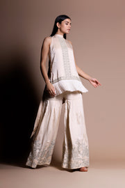An Embellished Fringe Kurta With Embroidered Garara Pants