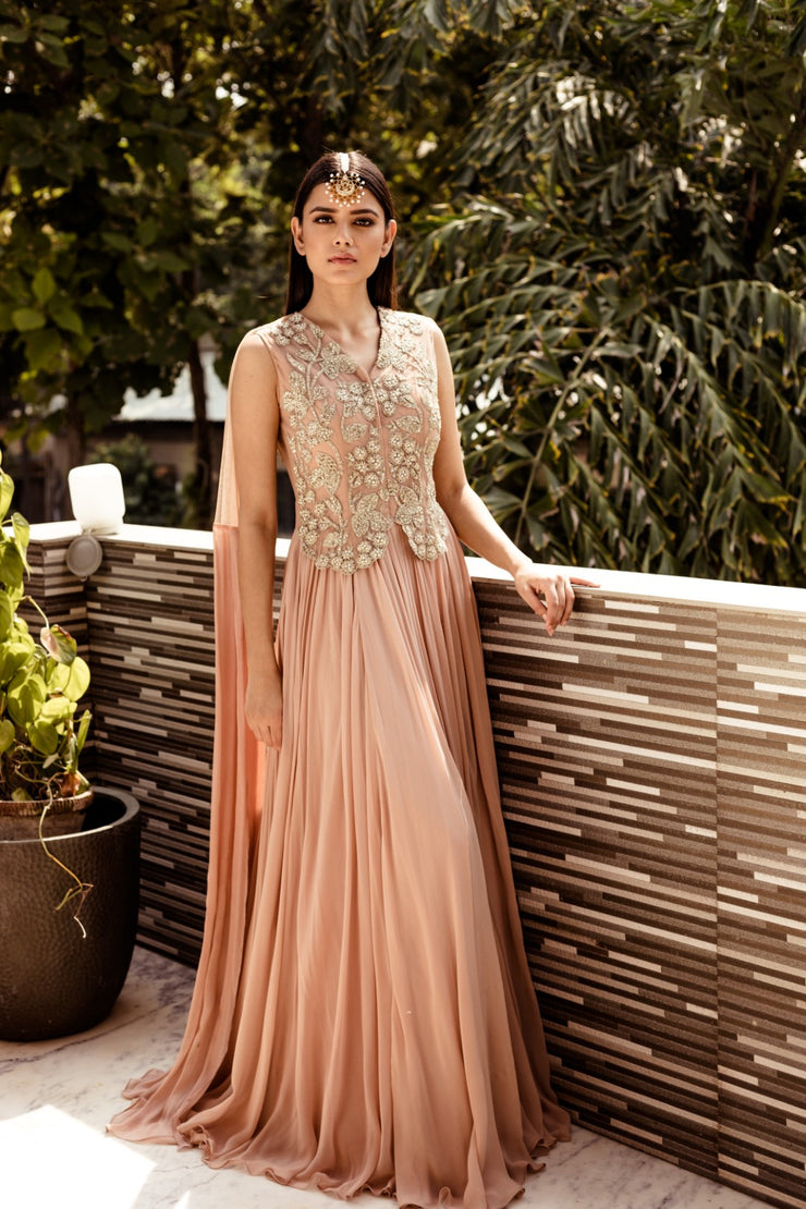 Nude Embroidered Gown