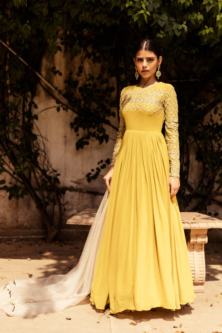 Yellow Embellished Anarkali