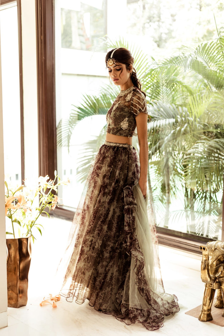 Green Bird Motif Printed Lehenga Set
