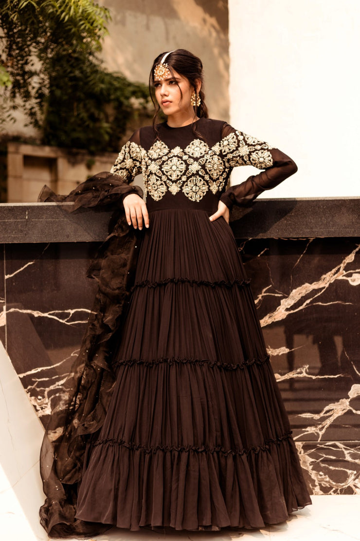 Black Embellished Anarkali Set