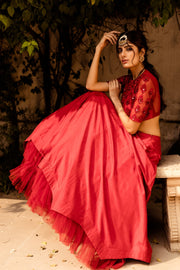 Red Monotone Skirt with Blouse - BHUMIKA SHARMA