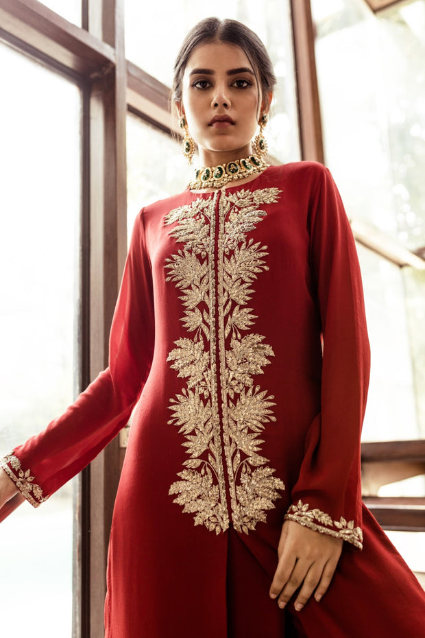 Red Kurta and Palazzo Set