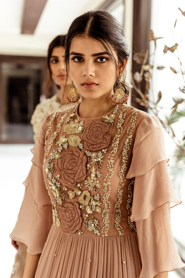 Nude Anarkali Gown