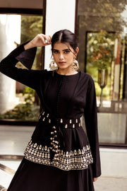 Black Anarkali Jacket Set