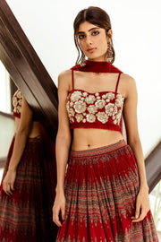 Red embellished bustier with Geometric print pleated skirt - BHUMIKA SHARMA