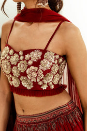 Red embellished bustier with Geometric print pleated skirt