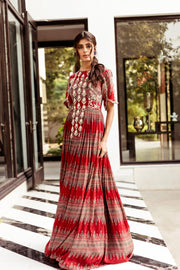 Red Geometric Print Anarkali