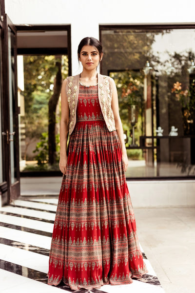 Red Geometric Print Anarkali with Jacket