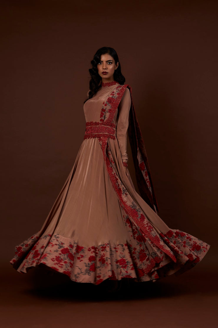 Nude Anarkali Gown - BHUMIKA SHARMA