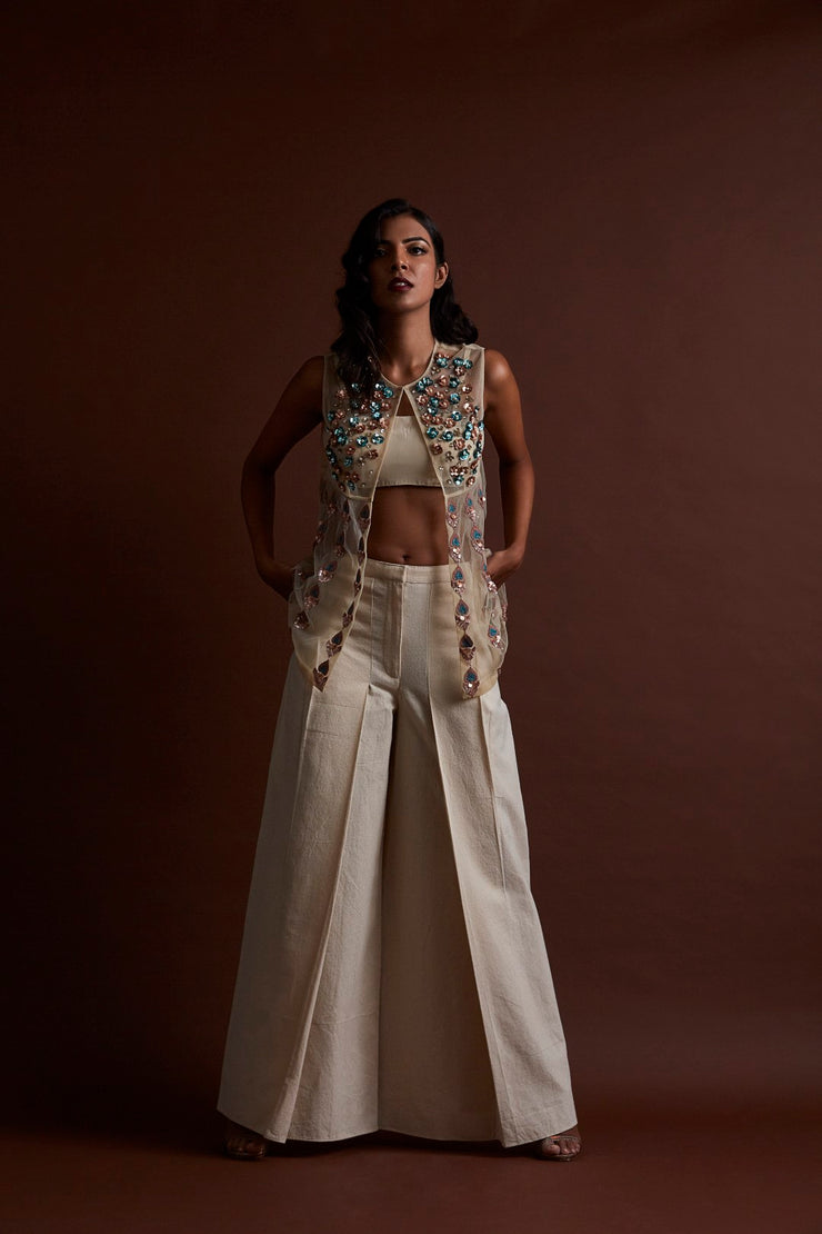 Ivory Tulle Pants and Jacket Set