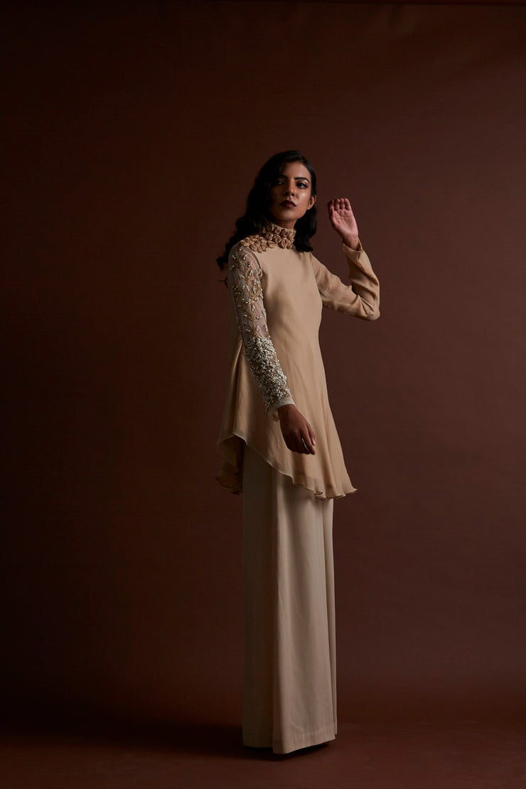 Beige Tunic with Flared Pants