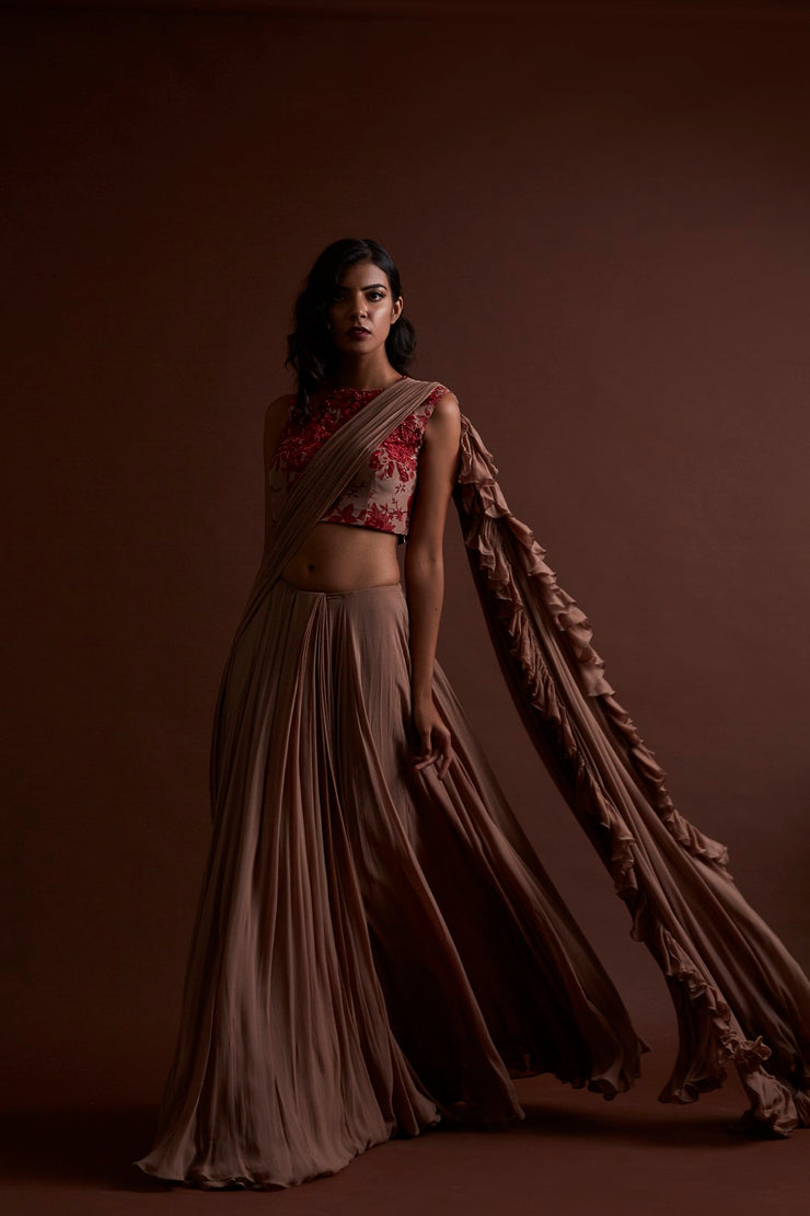 Nude Frill Saree with Floral Blouse