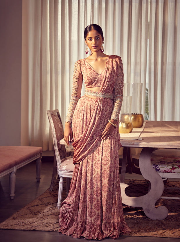 Earthy Pink Pre -Stitched Drape Saree with a Belt