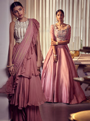 Earthy Pink  Gold Foil Printed Three Layered Saree