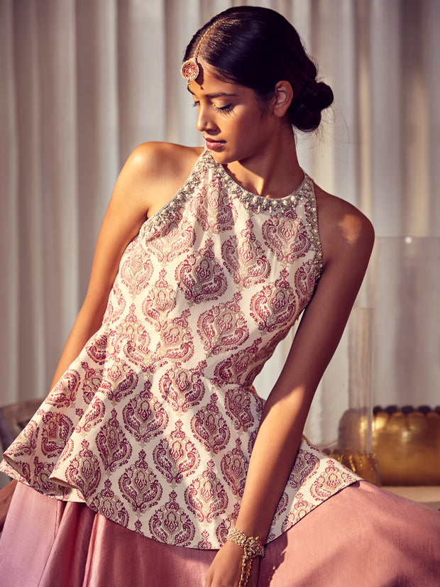 Ivory Printed Peplum Top With A Skirt - BHUMIKA SHARMA