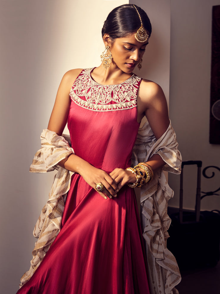 Rose Pink Anarkali With An Ivory Dupatta