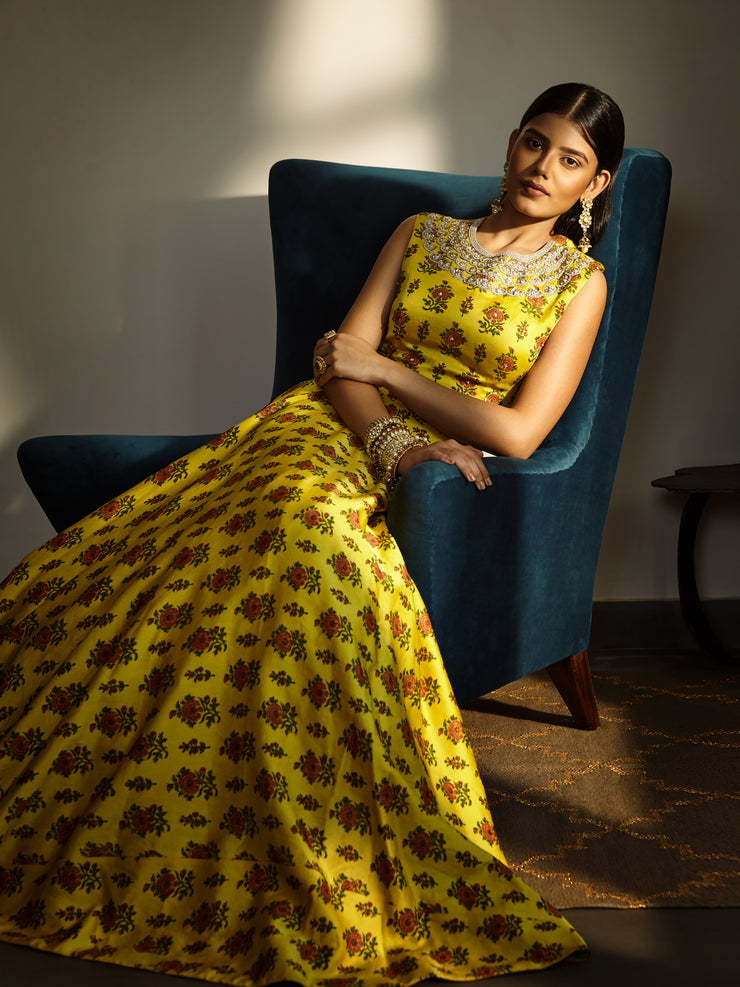 Yellow Printed Lehenga Set