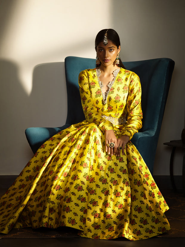 Printed Yellow Anarkali