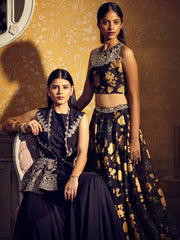 Charcoal Anarkali With An Embroidered Jacket - BHUMIKA SHARMA