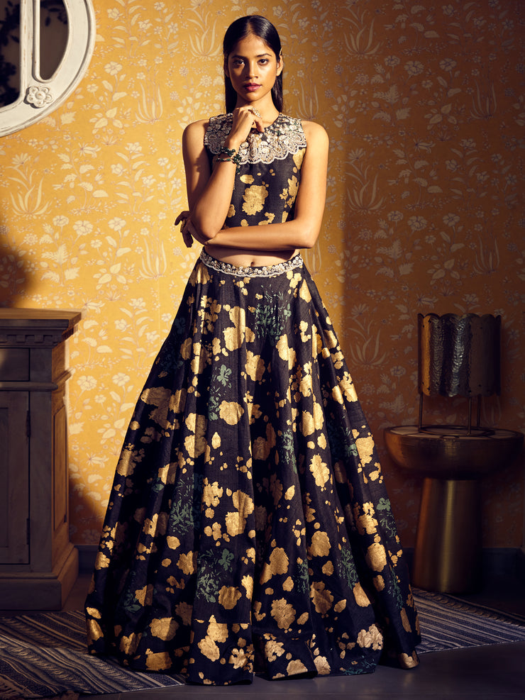 Black Gold Foil Print Lehenga Set
