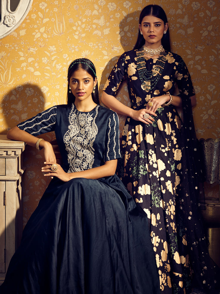 Black Gold Foil Print Anarkali