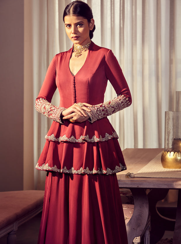 Burgundy Double Peplum Embroidered Anarkali