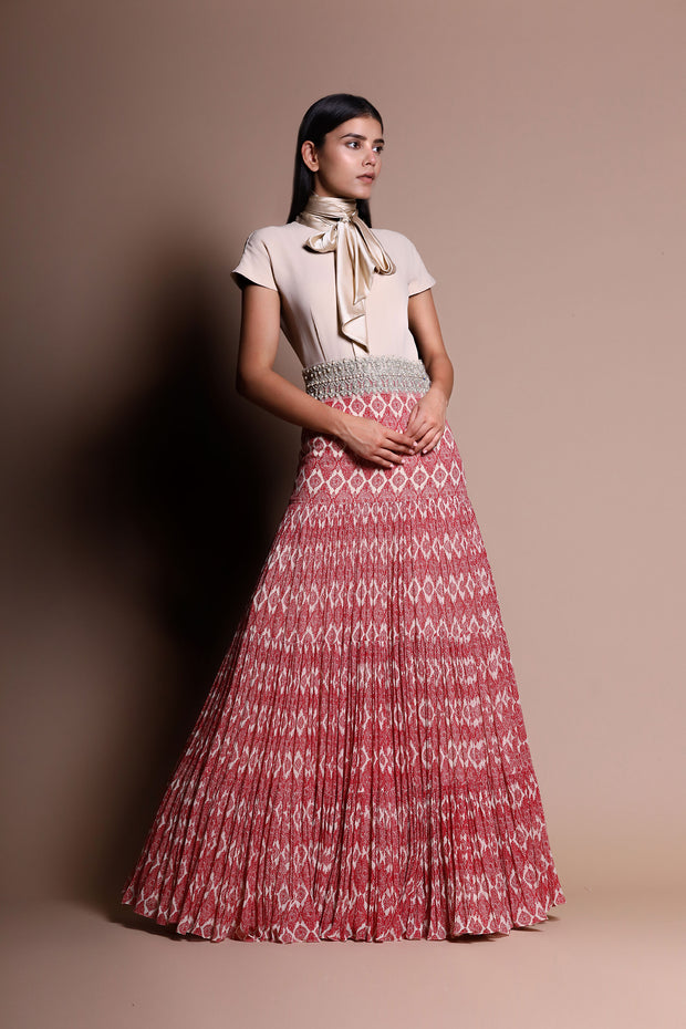 Pleated Printed Dress With Ivory Wrap Around Yoke And Pearl Embellished Belt