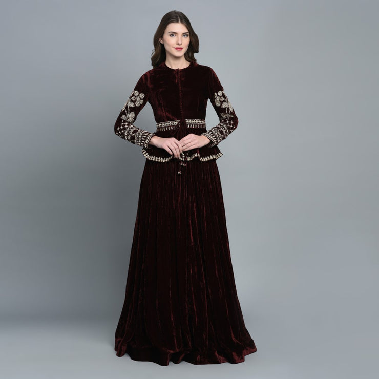 Maroon Velvet Peplum Top with Skirt - BHUMIKA SHARMA