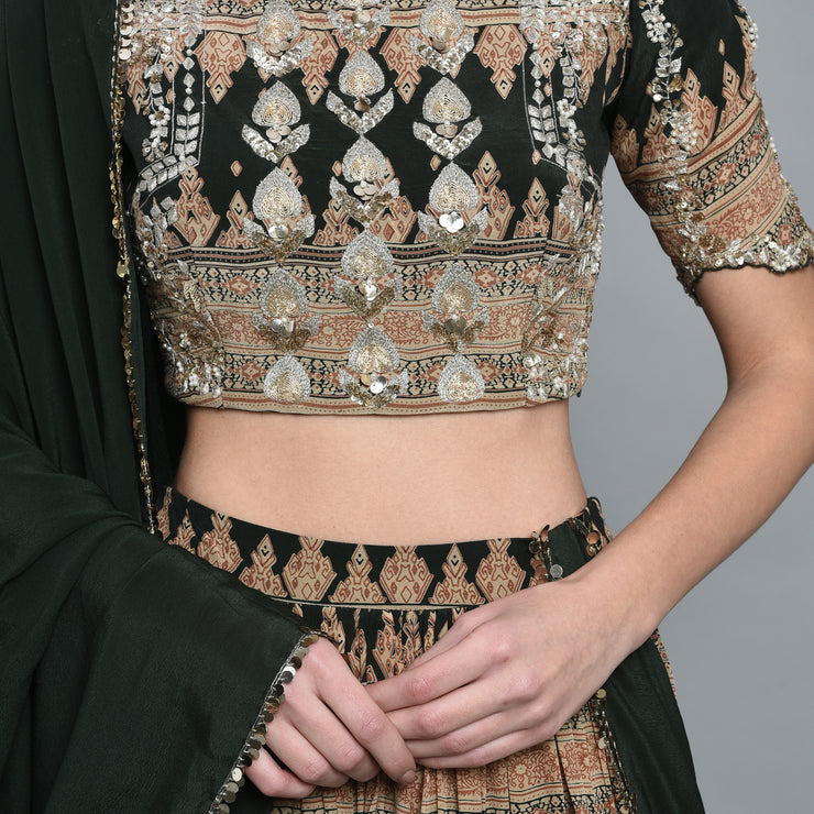 Green Geometric Print Lehenga Set