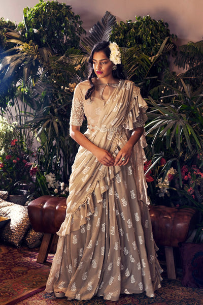 Light Beige Printed Frill Saree Set with Embroidered Belt
